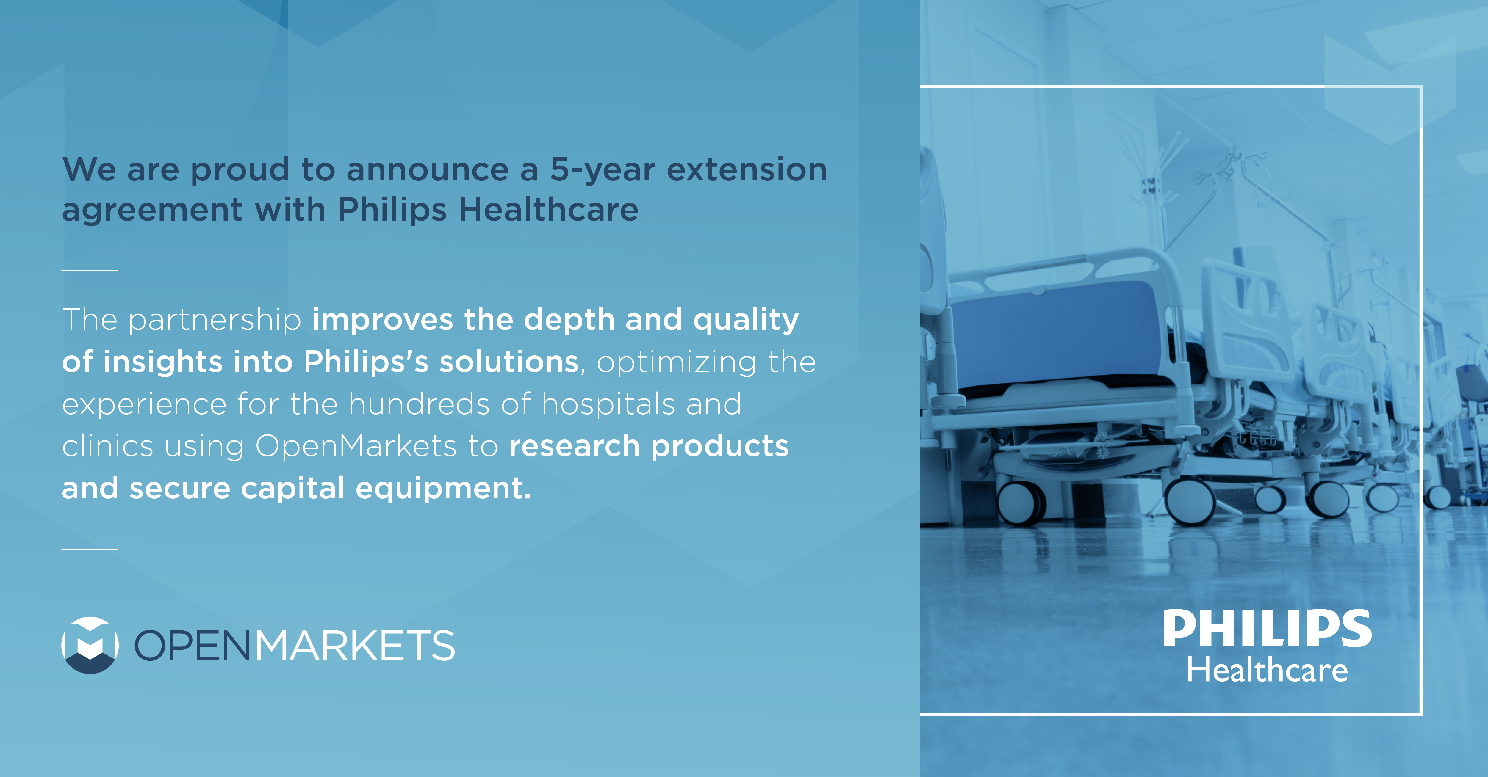 Philips Inks 5-Year Extension Agreement with OpenMarkets to Deepen the Ability of Providers to Research, Budget, and Approve Equipment Online